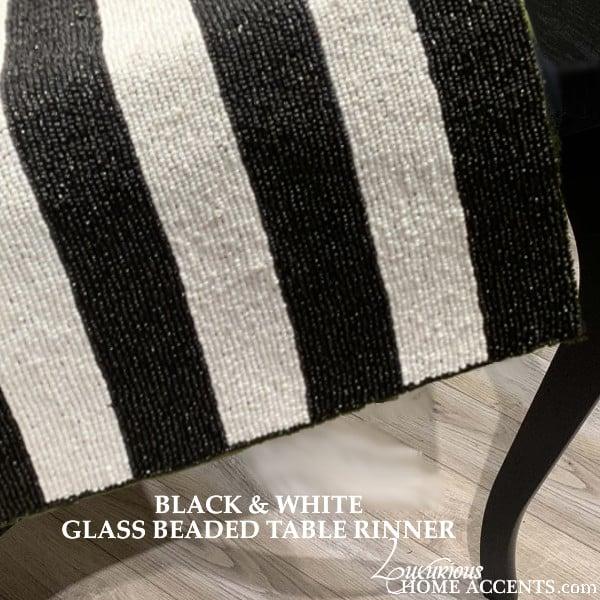 Image of Black and White Glass Beaded Table Runner