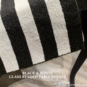 Image of Black and White Glass Beaded Table Runner