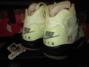 "Image of Air Jordan V (5) Retro x OFF--WHITE ""Sail/Fire Red"""