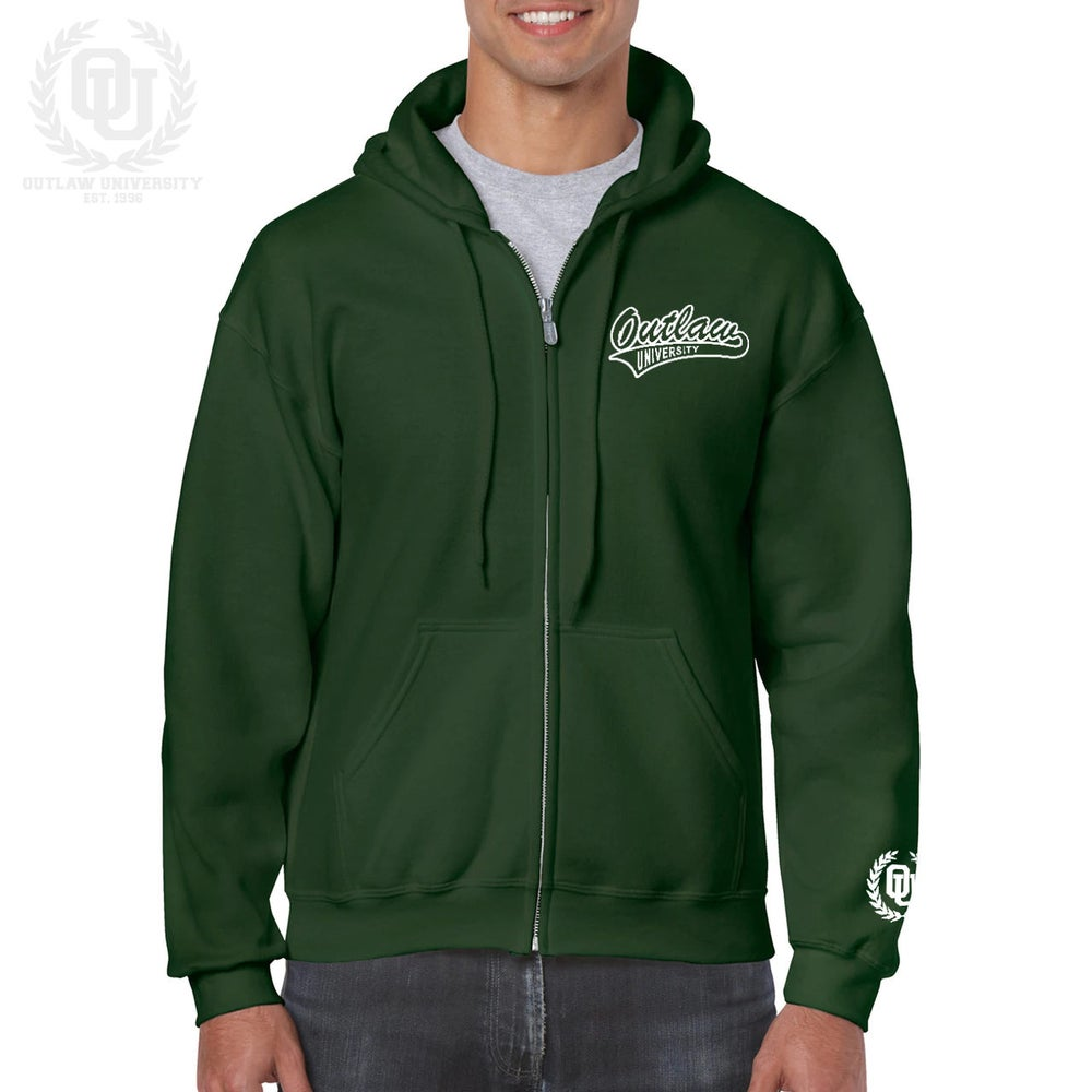 Image of Outlaw Unisex Zip Up Hoodie -Comes in Royal Blue, Forest Green, Irish Green, Orange, Maroon