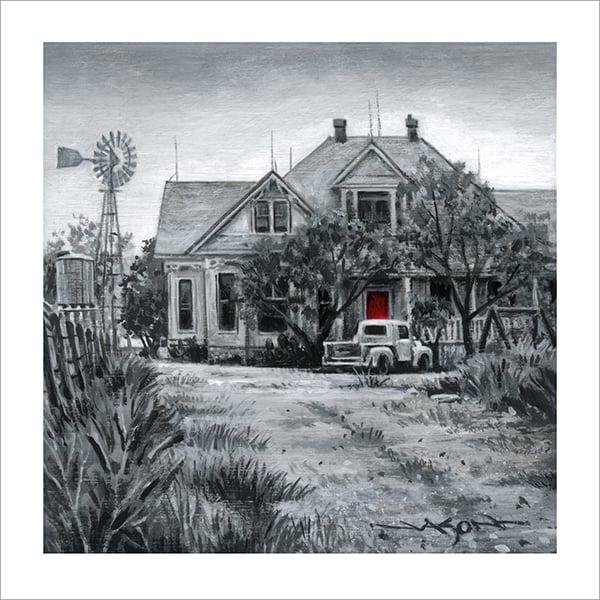 """""""Sawyer Family Farmhouse"""" - 5"""" x 5"""" giclee"""