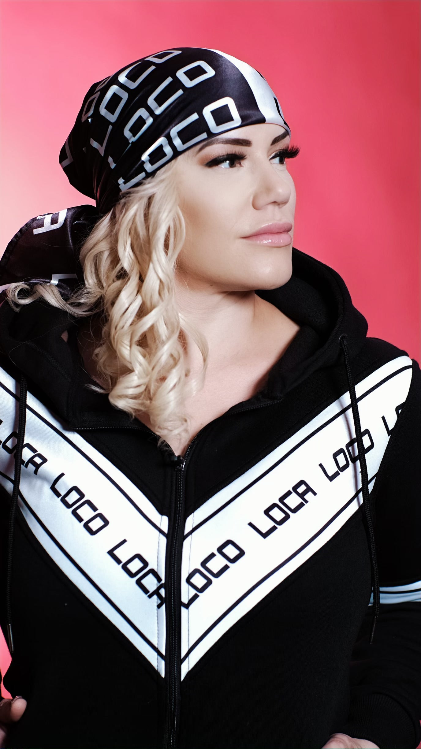 Image of LOCA Black and White Satin Scarf
