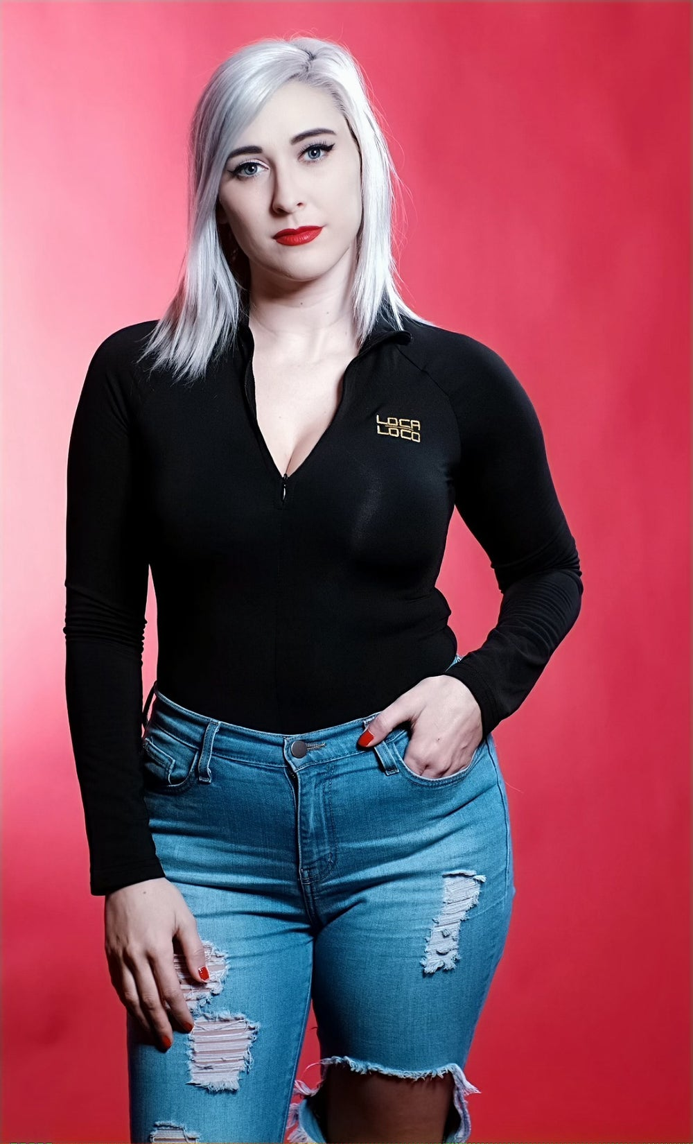 Image of LOCA Zip Up Long Sleeved Bodysuit
