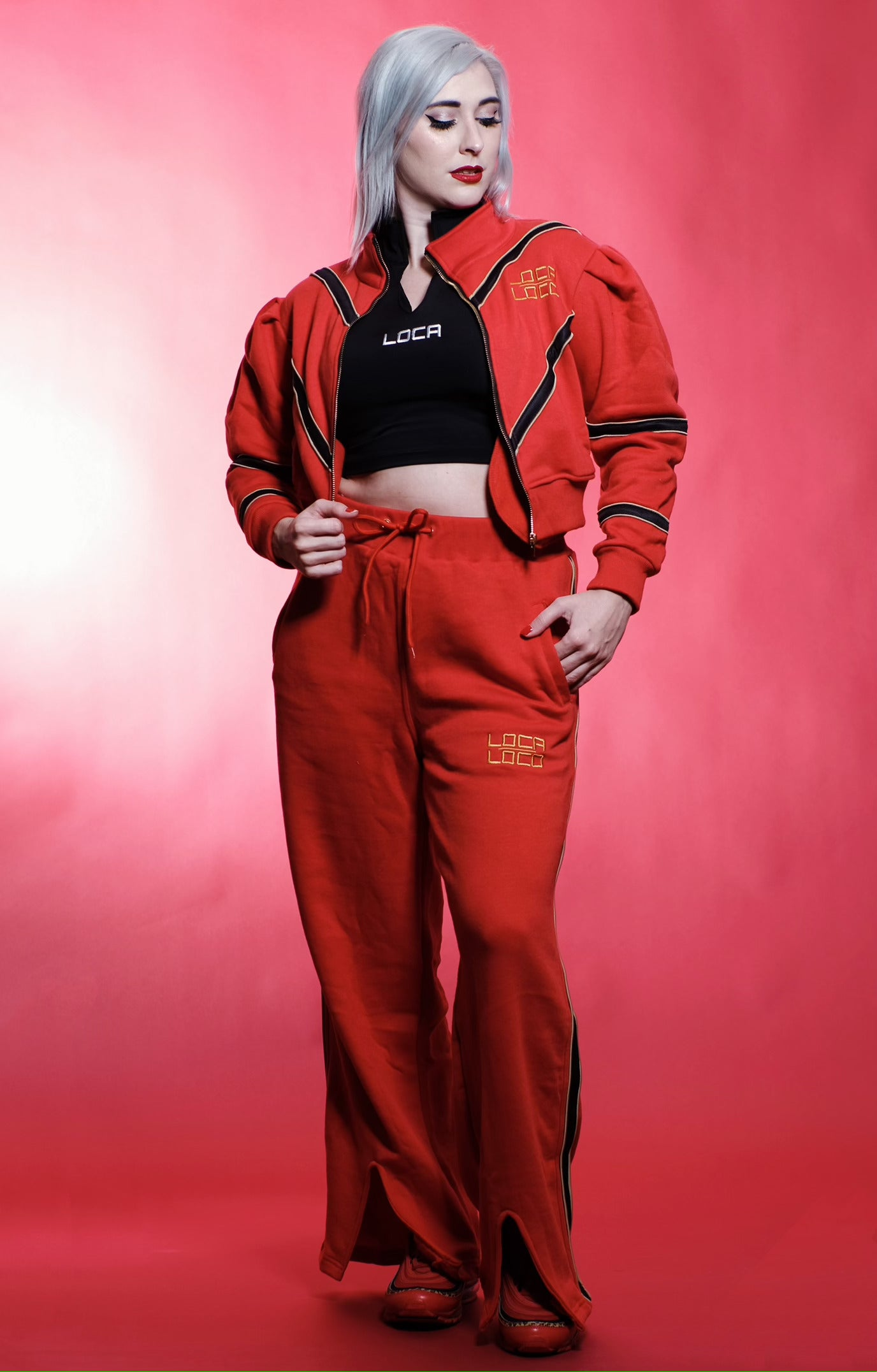 Image of Women's REINA Tracksuit in Red and Black