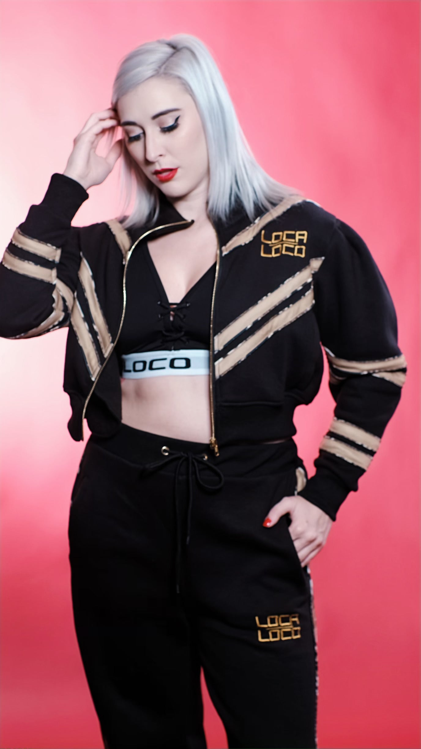 Image of Women's REINA Tracksuit in Black and Tan