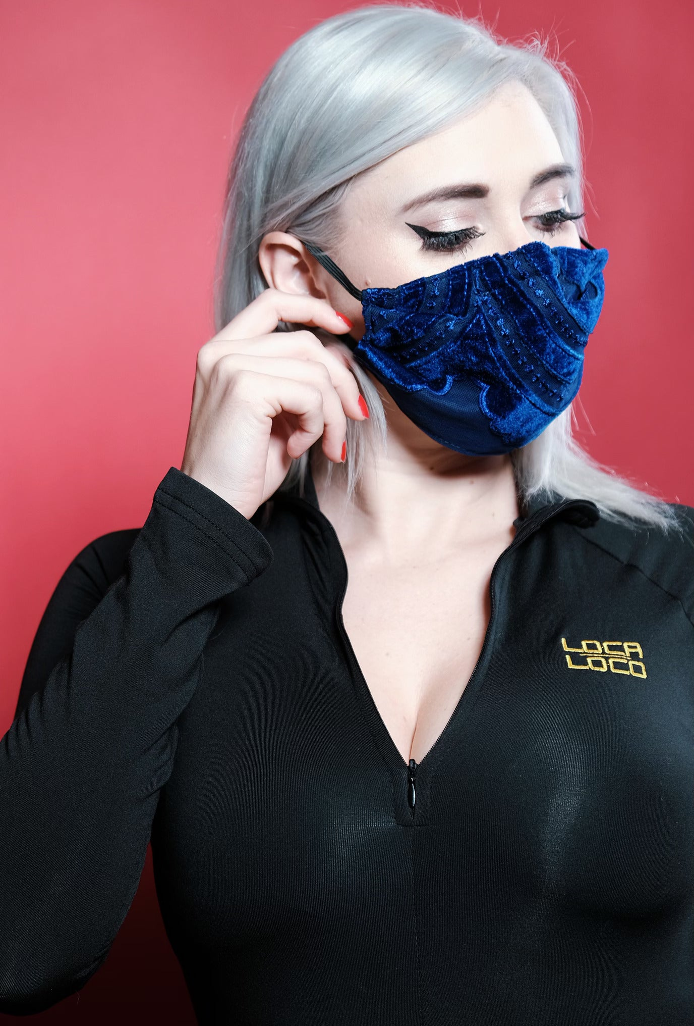 Image of Royal Blue Velvet Protective Face Mask