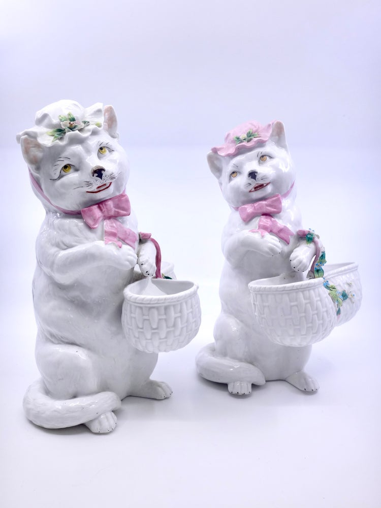 Image of Couple de chat en porcelaine Allemande Thuringe Thüringen XIXeme