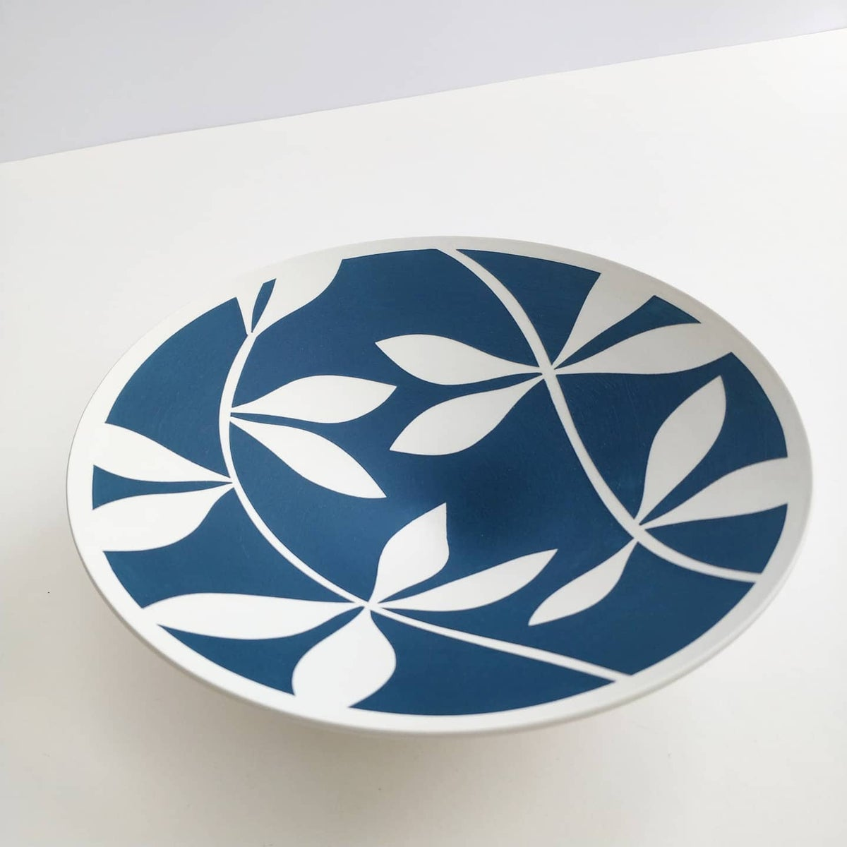 Image of Small Sea-blue & White Leaf Bowl