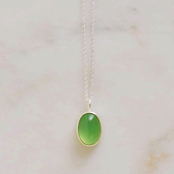Image of Green Chalcedony cabochon oval shape silver necklace