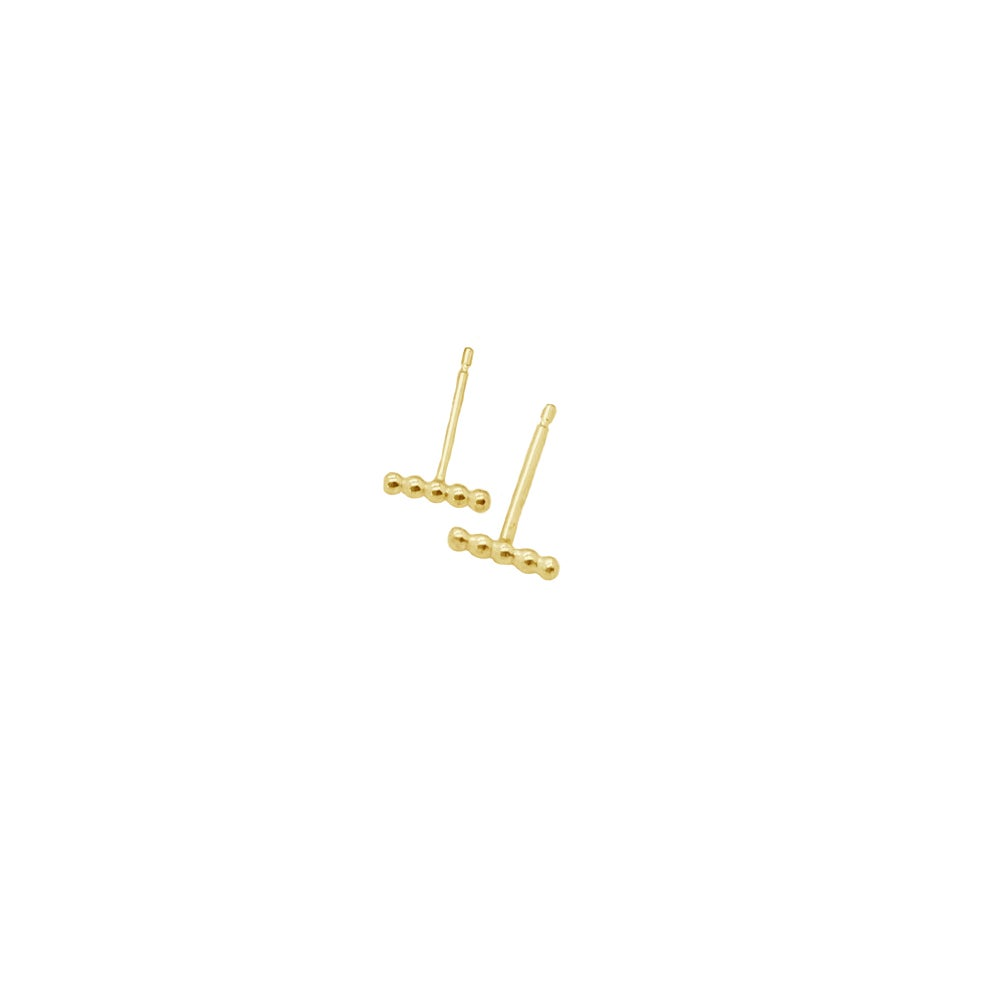 Image of 9ct solid gold beaded bar studs