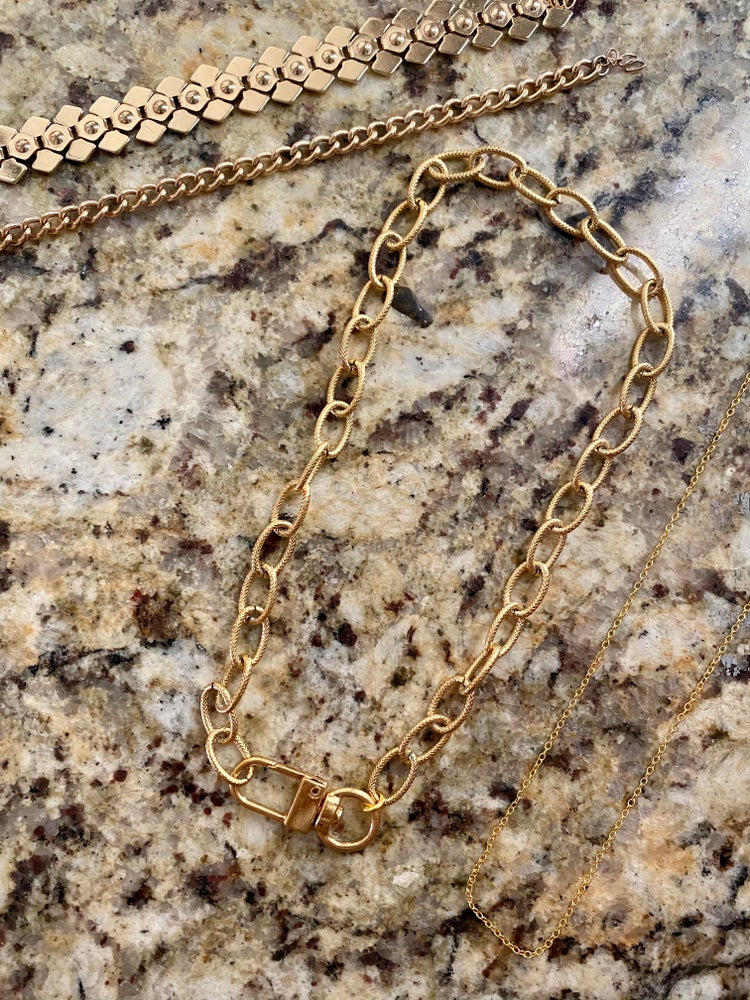 Image of STAINLESS STEEL LARGE CHUNKY LINK CLASP NECKLACE