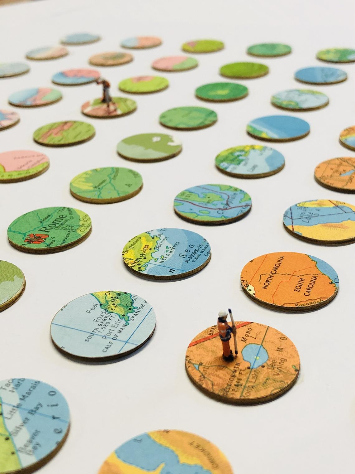 Image of   Surveying the Earth/ Sherry Truitt / Vintage Topography / Paper + Baltic Birch Collage / 90 Maps
