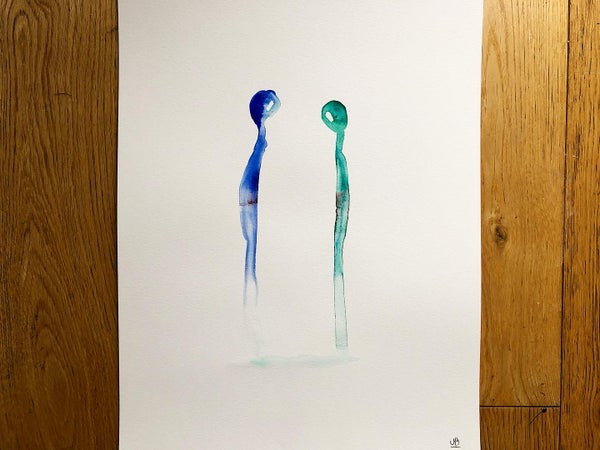 Image of « Together » 2/3, watercolor - A3.