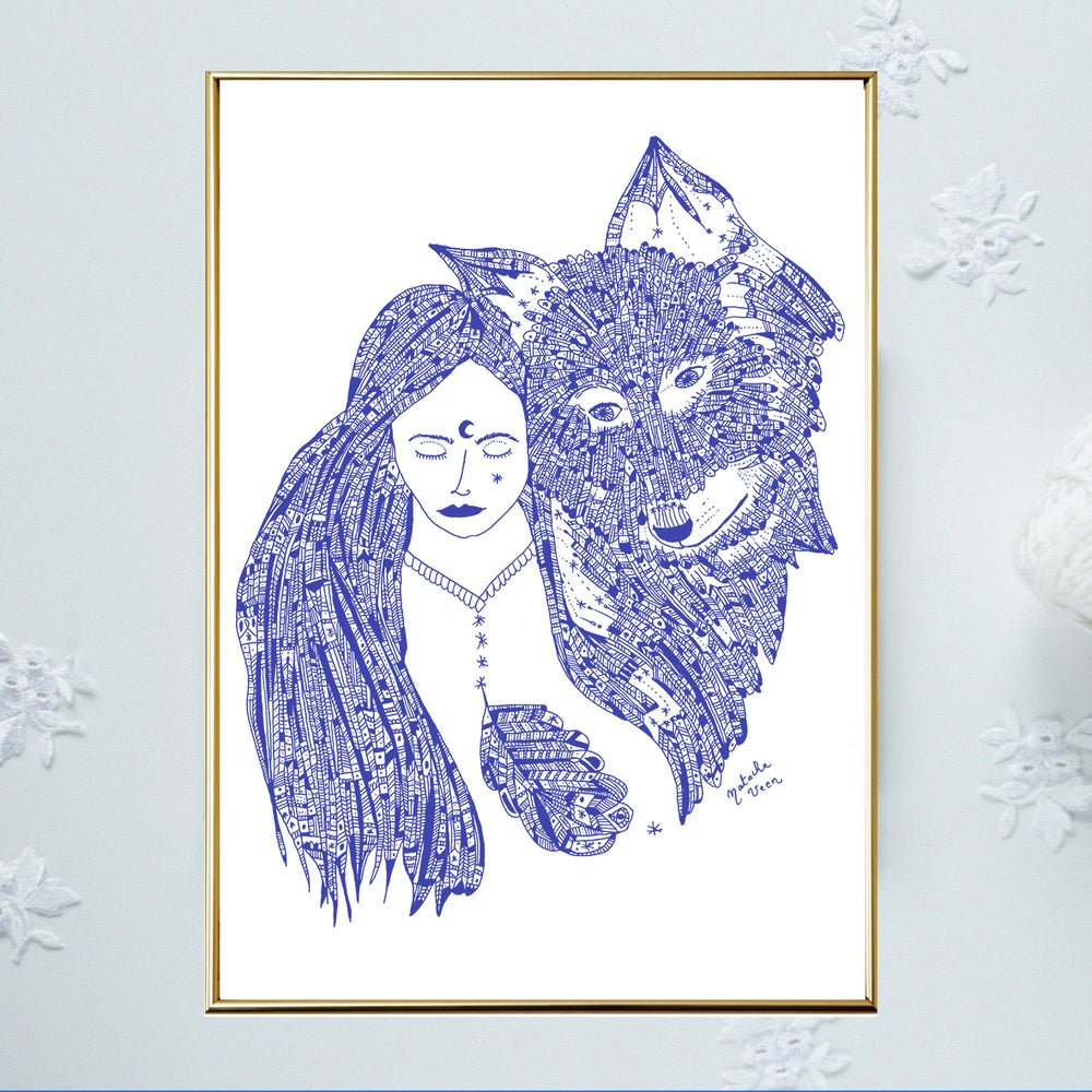 Image of Blue *Wild Woman & Wolf*_A3
