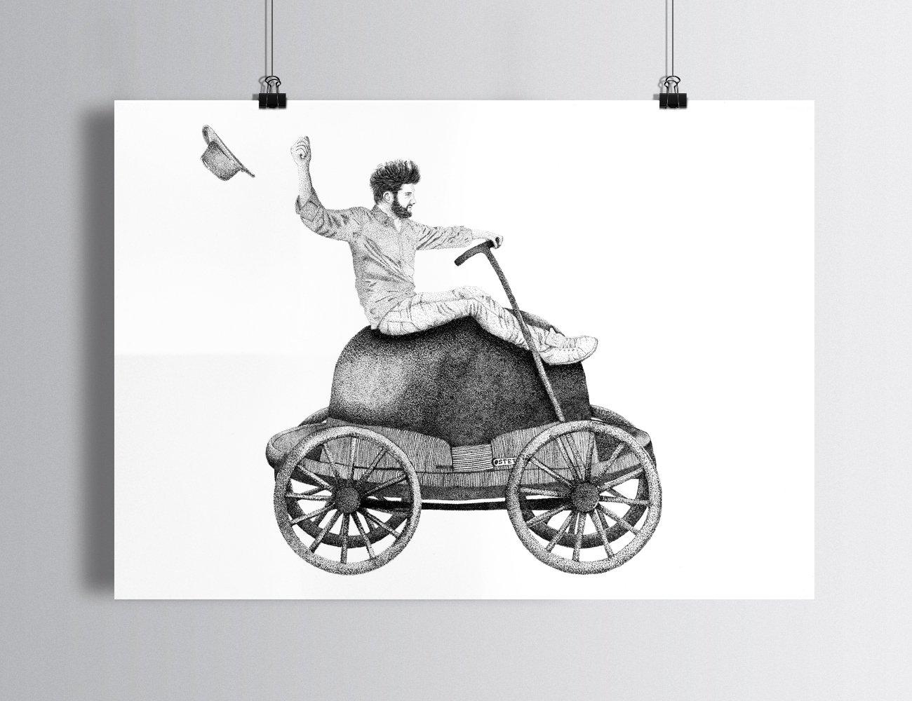 """Sérigraphie / """"Sur les chapeaux de roues"""""""