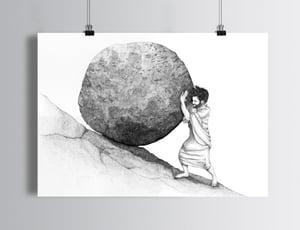 """Sérigraphie / """"Pousser le rocher de Sisyphe"""""""