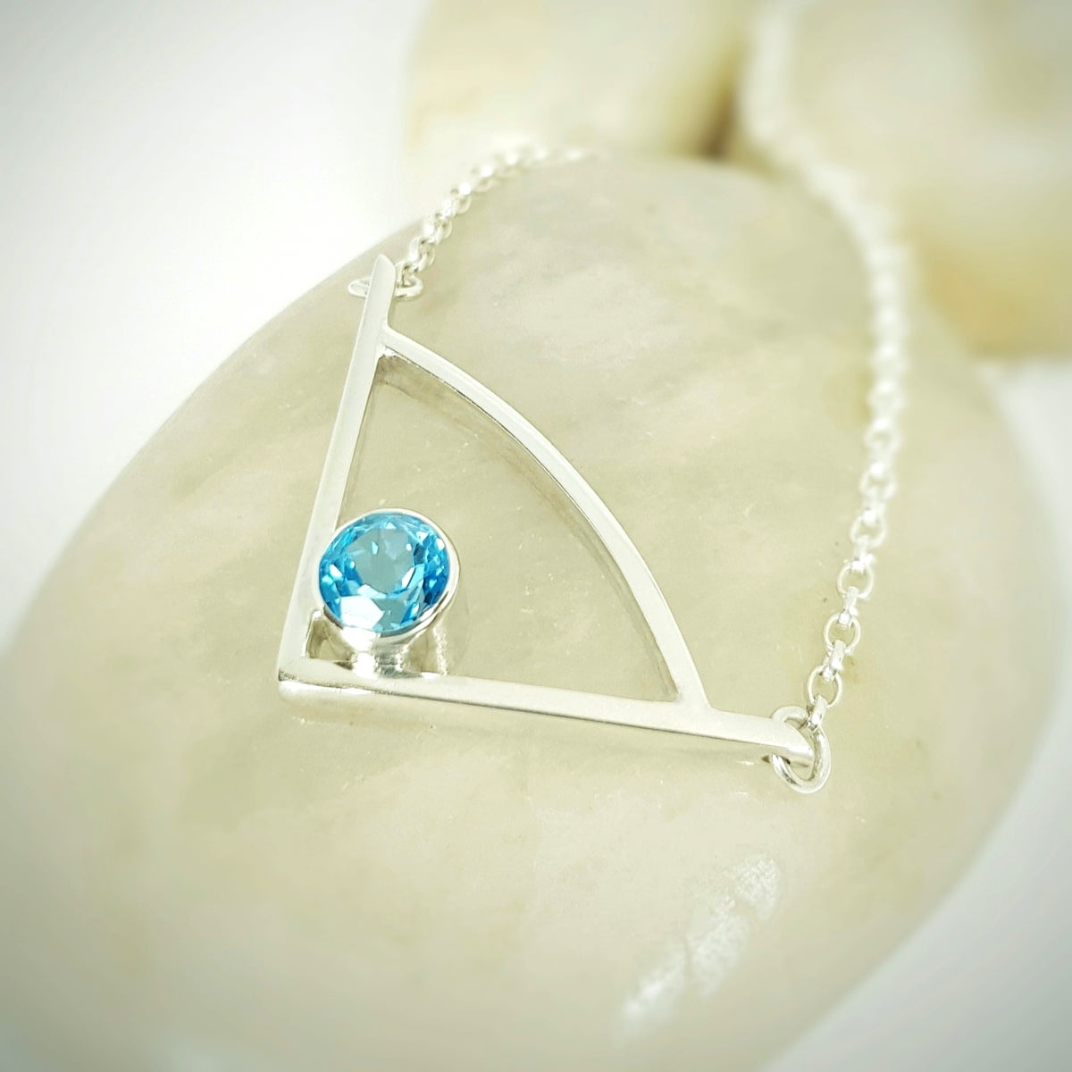 Image of Silver Pendant Necklace with Swiss Blue Topaz