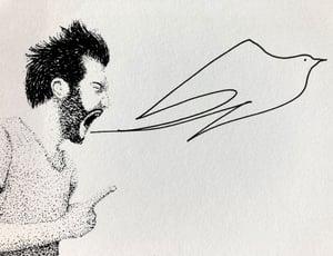 """Sérigraphie / """"S'envoyer des noms d'oiseaux"""""""