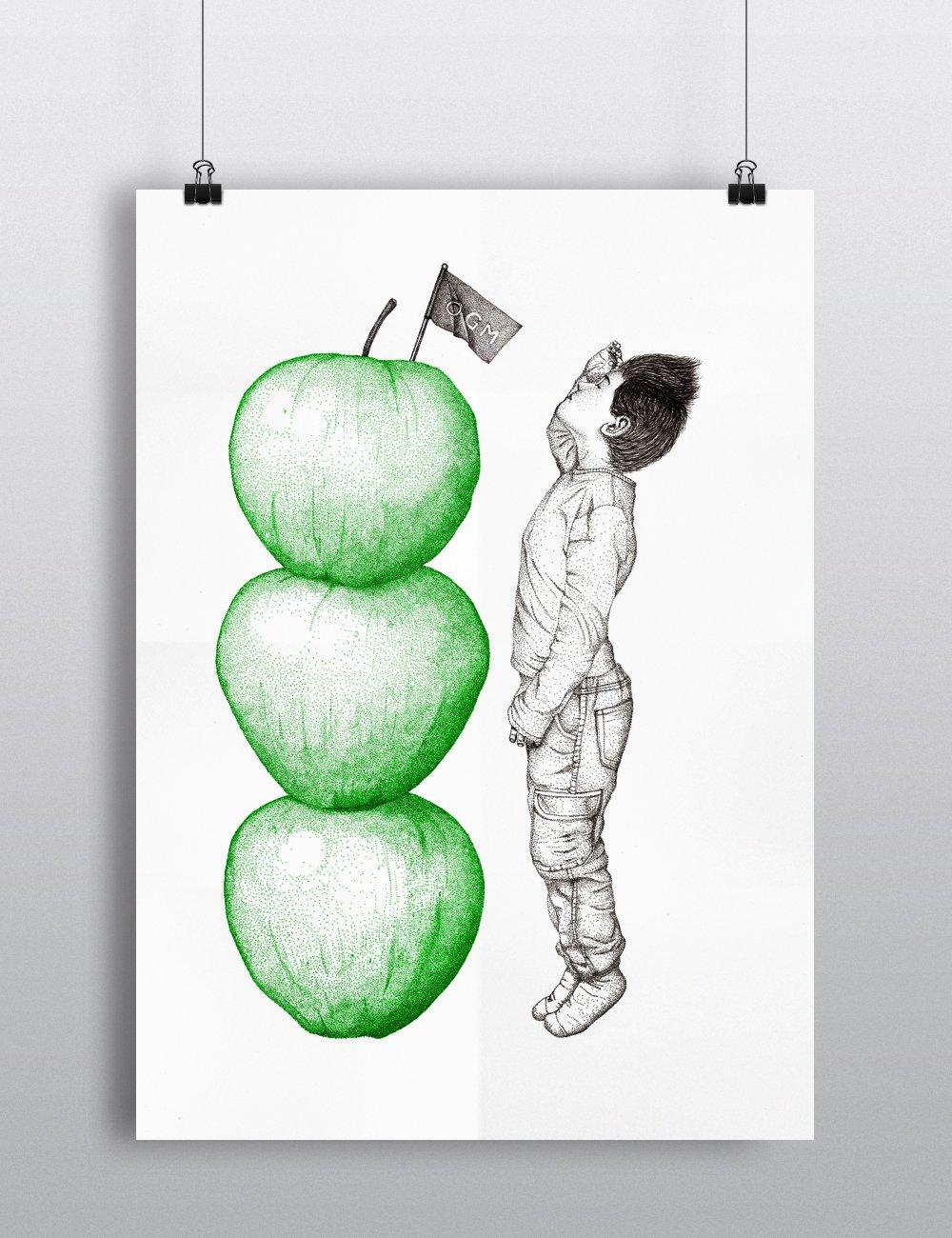 """Sérigraphie / """"Haut comme trois pommes"""""""