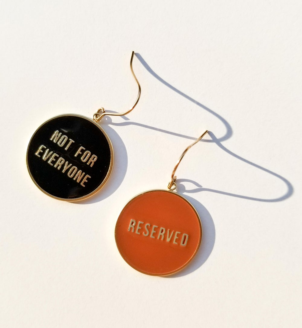 Not for Everyone + Reserved - reversible Earrings