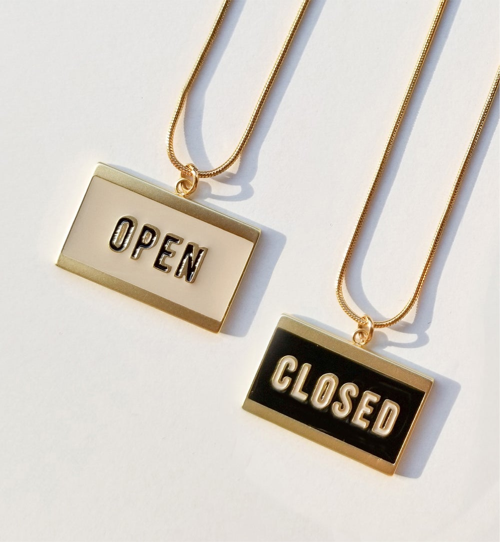 OPEN+ CLOSED - reversible necklace- Black / Ivory • Stainless steel