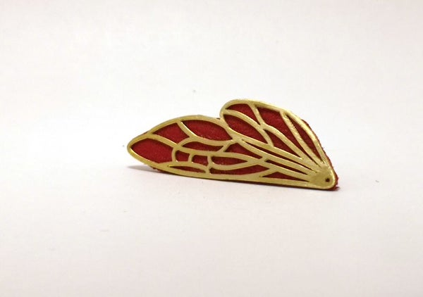 """Image of Broche """"Élytre"""" rouge"""