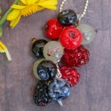 Lampwork pendant with raspberry and blackberry
