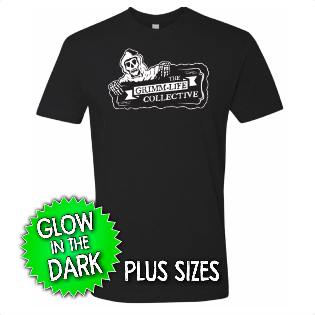 Image of (Plus Size) Pre-Order - GLOW in the DARK Grimm-Life Logo Shirt