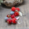 Lampwork earrings with red berry