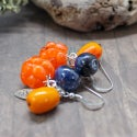 Lampwork  earrings with yellow berry