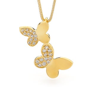 Image of Double Butterfly - Pendant in 9ct Solid Yellow Gold with Diamonds