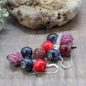 Lampwork earrings with blueberry and clover flowers