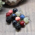 Lampwork earrings with blackberry and blueberry