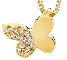 Image of Single Butterfly - Pendant in 9ct Solid Yellow Gold with Diamonds