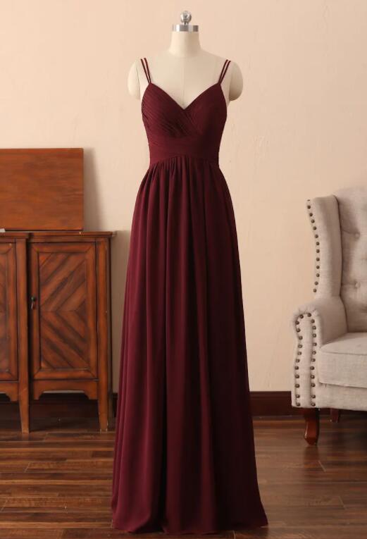 Dark Red Chiffon Straps Long V-neckline Prom Dress, Straps Long Bridesmaid Dress