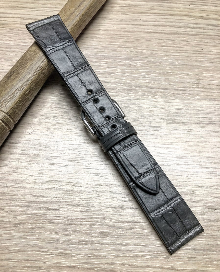 Image of Grey Double Alligator classic watch strap