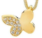 Image of Single Butterfly - Bracelet Charm in 9ct Solid Yellow Gold with Cubic Zirconia's