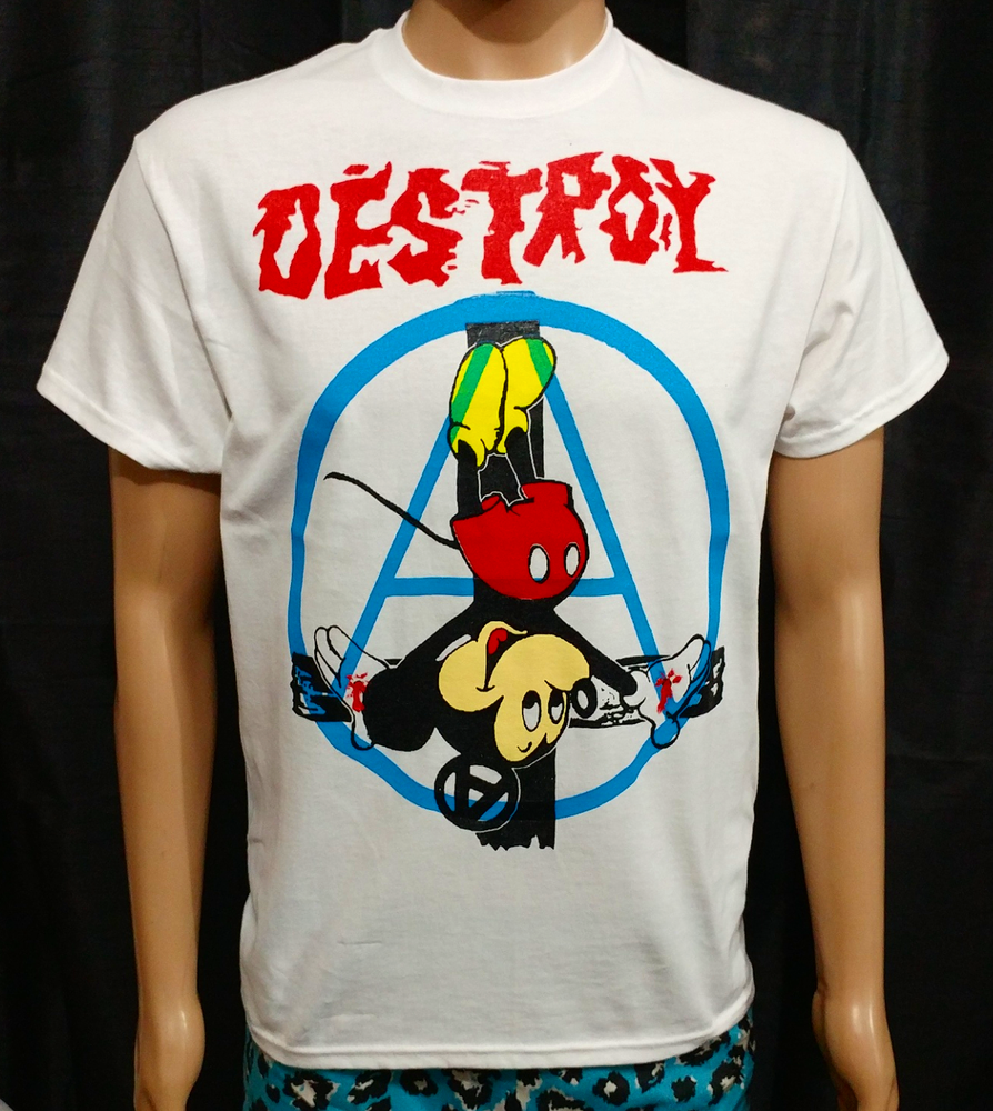 Image of Crucified Mickey Mouse Anarchy full color white tshirt