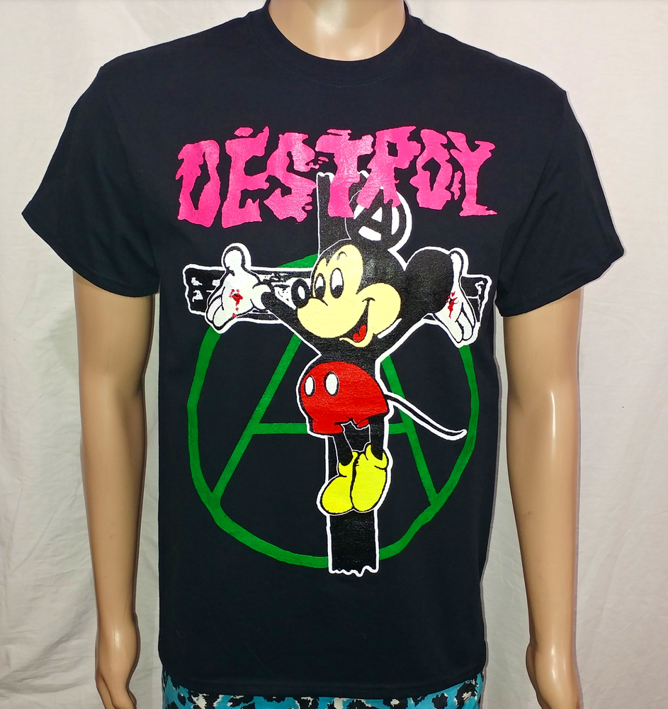 Image of Crucified Mickey Mouse pink Destroy green anarchy black tshirt