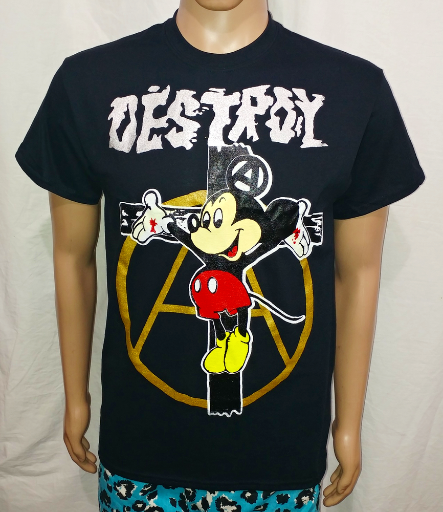 Image of Crucified Mickey Mouse silver Destroy gold anarchy black tshirt