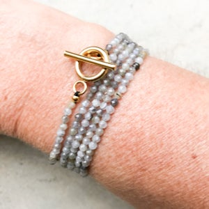 Image of Bracelet multirangs rose, or et gris