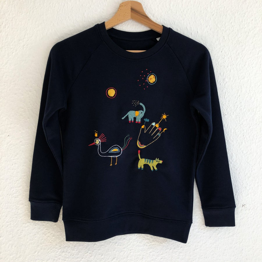 Image of Reserved for Gemma: Hybrid animals  - one of a kind, hand embroidered sweatshirt