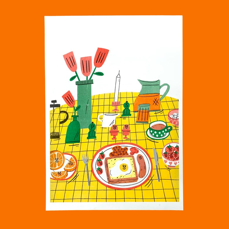 Image of Breakfast A3 Riso Print