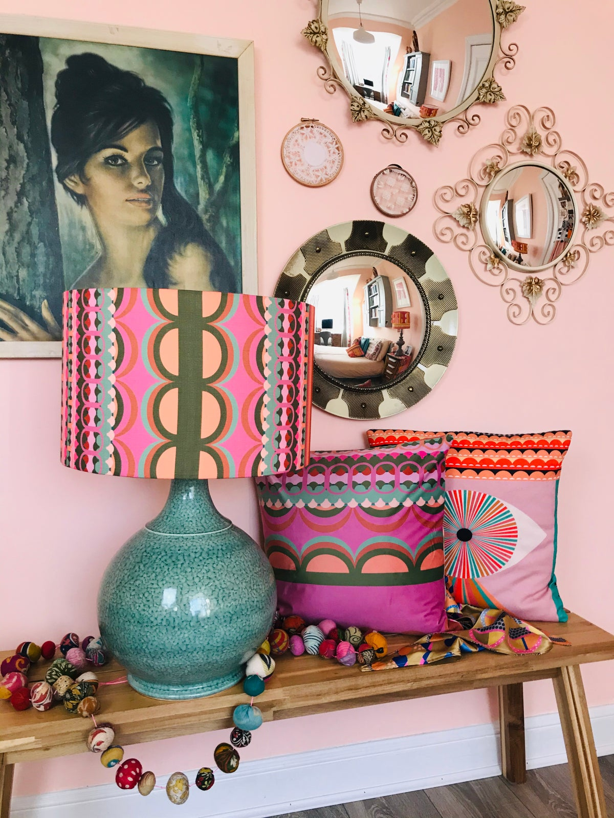 Image of Disc'O' Pink /Sage Lampshade