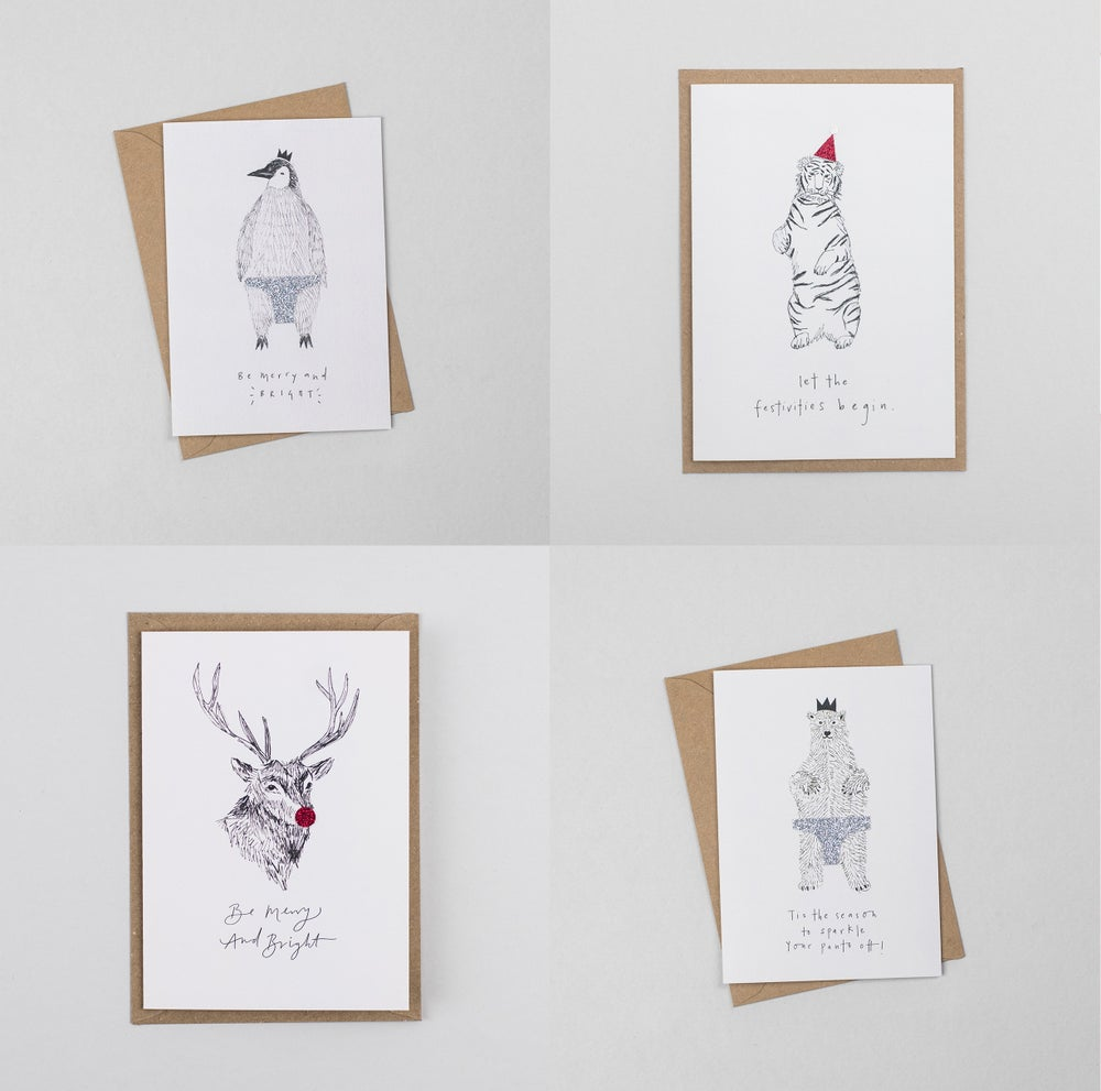 Image of Hand Finished Christmas Party Animal Bundle - 8 Cards