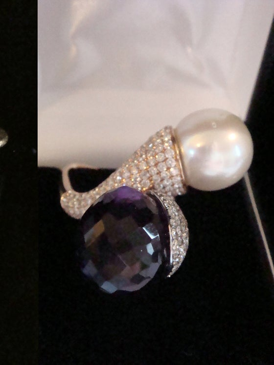 Image of 18CT HANDMADE NATURAL SOUTH SEA CULTURED PEARL AMETHYST AND DIAMOND 4.00CT RING