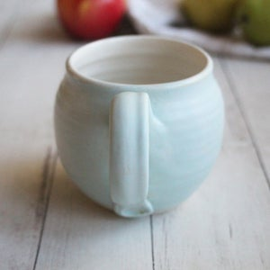 Image of Soft Matte Blue and White Handmade Pottery Mug, 16 oz, Stoneware Coffee Cup, Made in USA