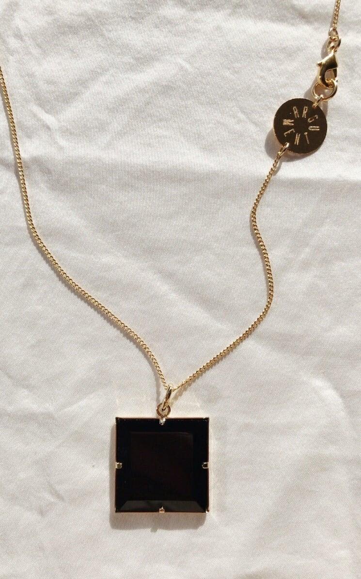 Image of Collier carré onyx noir