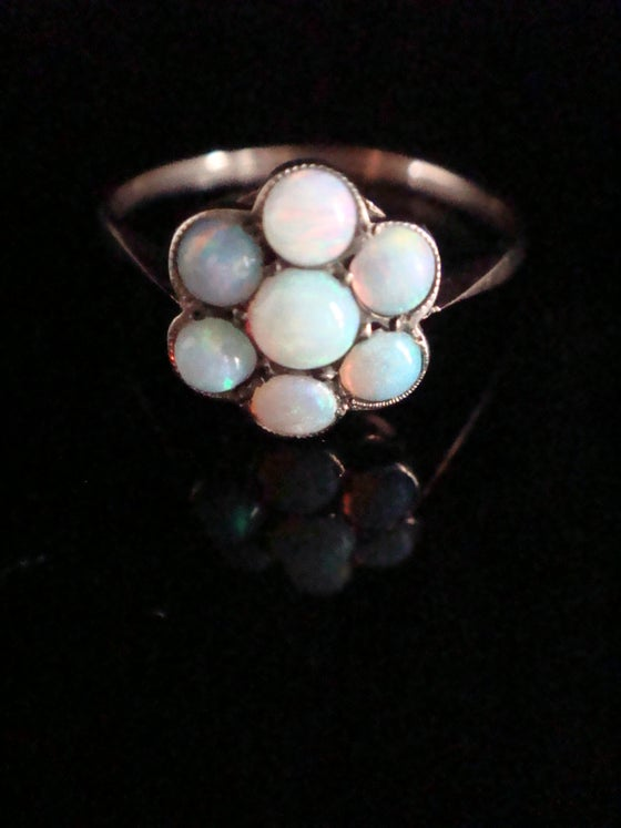 Image of Edwardian 9ct yellow gold solid natural opal cluster ring