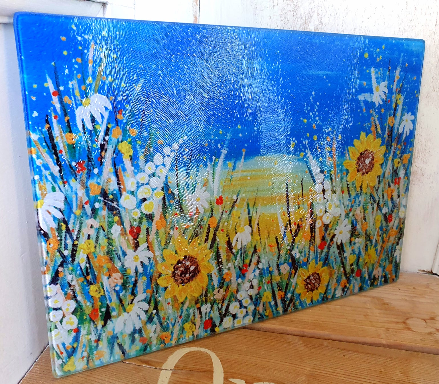 Image of SUNFLOWER GLASS CHOPPING BOARD